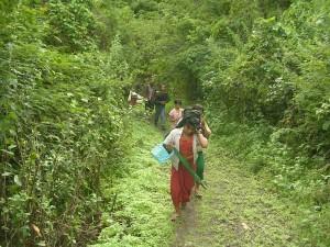 School children returning to the village